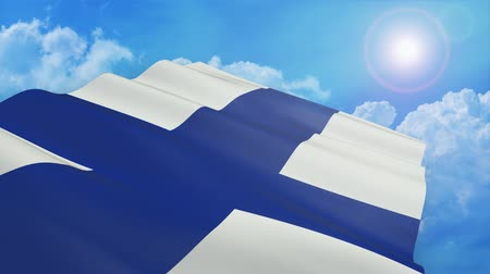 Close-up view of the flag of Finland on white background - 3d render - alpha mask - loop