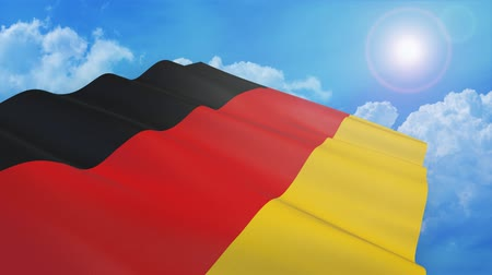 Close-up view of flag of germany on white background - 3d render - alpha mask - loop