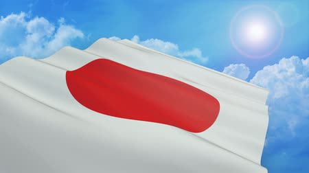 Close-up view of the flag of japan on white background (3d render) - alpha mask - loop
