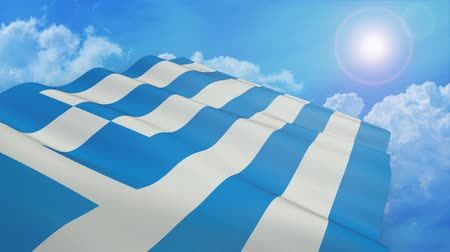 Close-up view of the flag of greece on white background - 3d render - alpha mask - loop