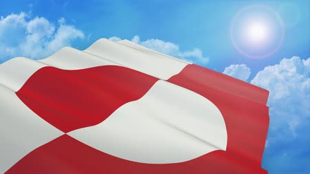 close-up view of the greenland flag on white background - 3d render - alpha mask - loop