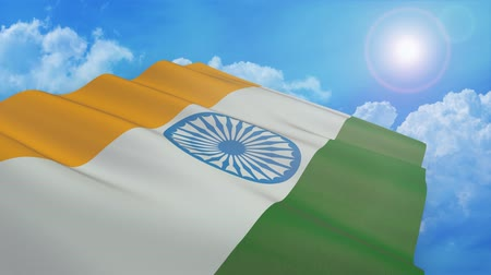 close-up view of the flag of india on white background (3d render) - alpha mask - loop