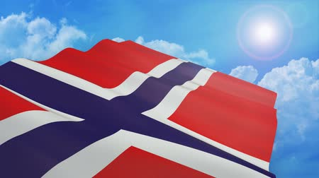 close-up view of the flag of norway on white background - 3d render - alpha mask - loop Стоковые видеозаписи