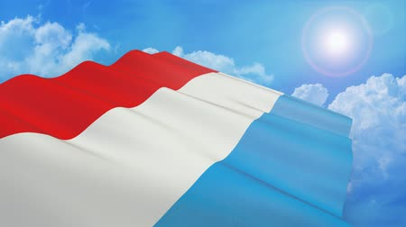 close-up view of flag of luxembourg on white background - 3d render - alpha mask - loop