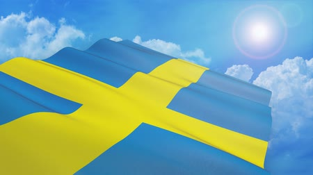 close-up view of the sweden flag on white background - 3d render - alpha mask - loop Стоковые видеозаписи