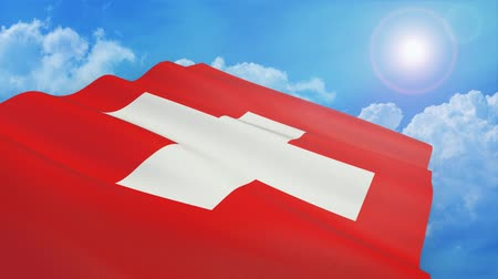 close-up view of flag of switzerland on white background - 3d render - alpha mask - loop