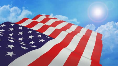 close-up view of the usa flag on white background - 3d render - alpha mask - loop
