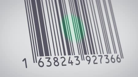 close-up view of a barcode label being scanned by the barcode reader (3d render)