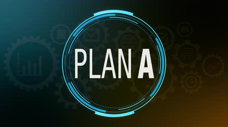 circular futuristic hud with text: plan a. rotate on itself and appear the b letter. some gears with business icons on the background