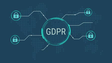 general data protection regulation GDPR concept, lock data and protecting citizen privacy, stylized earth map on background