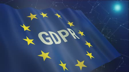 european union flag with text GDPR and an abstract network system on background, concept of general data protection regulation (3d render)