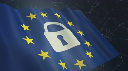 european union flag with a padlock and an abstract network system on background, concept of general data protection regulation (3d render) Стоковые видеозаписи