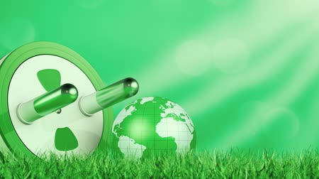 earth globe with a big power plug, grass on foreground, green energy concept, copy space (3d render)