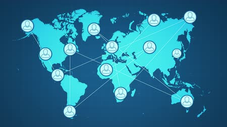 world map with people icons that appear on some countries and are connected with lines. the flat map become a sphere with stars on the background; concept of social media; global communication; and teamwork (3d render)