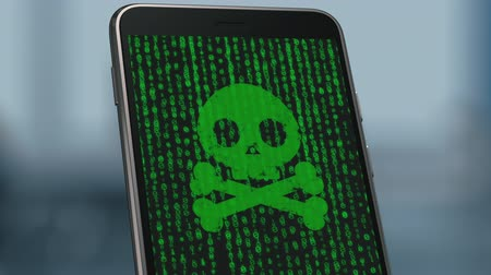 close-up view of a smartphone infected by malware, the screen is filled with numbers zero and one, at the end of the skull, hacker or pirate symbol, alpha mask (3d render)