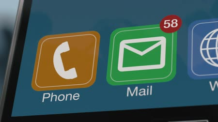 closeup view of a smartphone display while receiving a lot of emails, alpha mask (3d render)