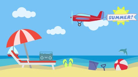 Beach landscape with chair, umbrella, toys and a vintage radio. An airplane is flying with a banner and the text: summer. A boat and a dolphin on the background. Concept of holiday at the seaside. Colorful, cartoon flat style.