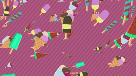 different types of ice cream fall from the top of the screen. Cartoon flat style, colorful, concept of summer and freshness. alpha mask to use your custom background