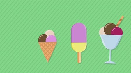 different types of ice cream pop up on the screen sequentially and after some seconds disappear. Cartoon flat style, colorful, concept of summer and freshness. alpha mask to use your custom background
