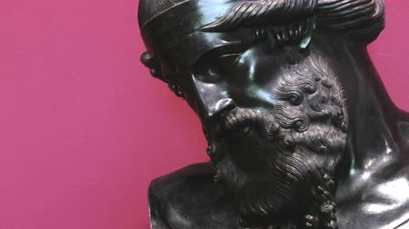 biust : Black statue of a bearded face portrait background