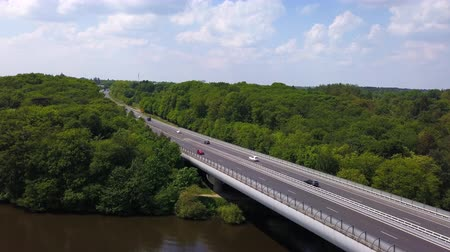 por que : Aerial A11 highway in Nantes bridge
