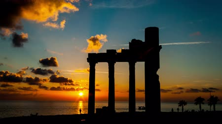 rhodes : Sunset  and anciend ruines
