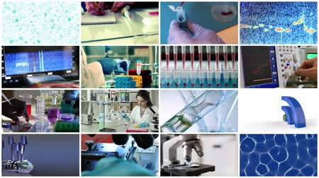 pharmaceuticals : collage video science and technology Stock Footage