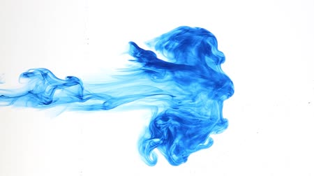 цветной : Abstract background, blue ink injection into the fluid Стоковые видеозаписи