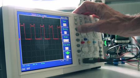 elektronika : Development of electronic devices in the modern electronics laboratory, on a table,  microprocessor oscilloscope and  multimeter Wideo