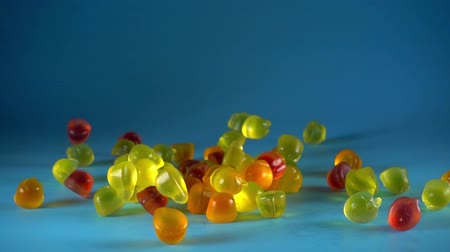 colorful candy : Falling jelly candy Slow Motion 500 fps