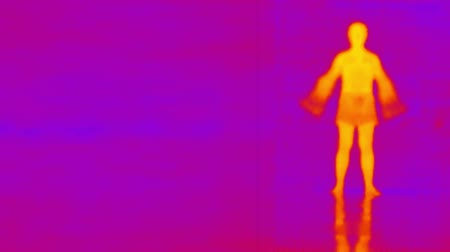 infra : Infrared photography man doing gymnastics Stock Footage