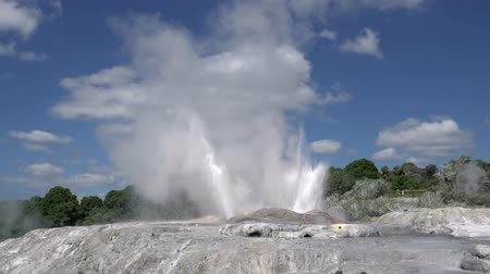 volcanology : Geyser Rotorua in New Zealand. Underground source of natural hot water Stock Footage