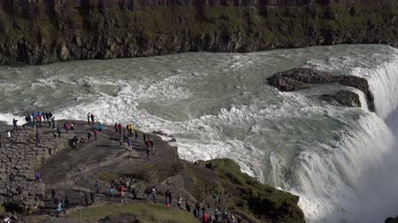gullfoss : Gullfoss waterfall and tourists in Iceland