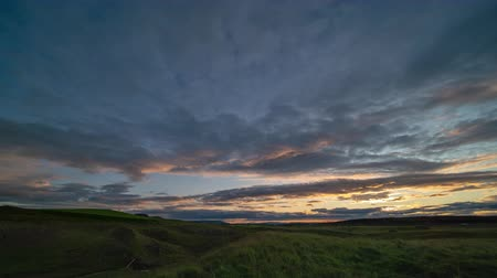 sunrise dawn on a meadow in iceland time lapse