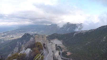 richard : Saint Hilarion Medieval Castle ruins in northern cyprus Stock Footage