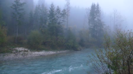 calm foggy morning in a mountain valley with a river