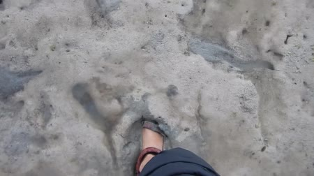 walking with sandals in a mud on a beach