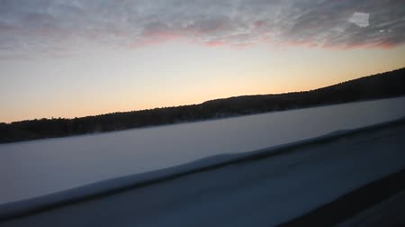 winter lappland landscape from a car