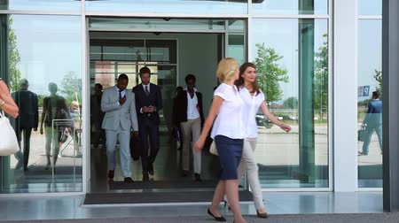 smíšené rasy osoba : Diverse team of business people walk around their light and modern office building.