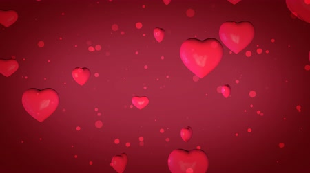 volatile : Animated Looped 3D background of pink hearts with bokeh
