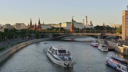 Moscow river ships traffic near the Kremlin. Moscow, Russia