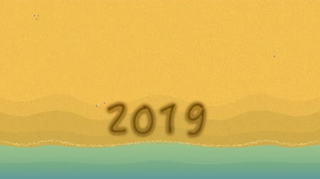 apagar : Goodbye 2019 hello 2020. 2019 hand writing, waves are wiping on the beach. Deleted, clean bye 2019 handwriting text. 2D 4k animation video Stock Footage