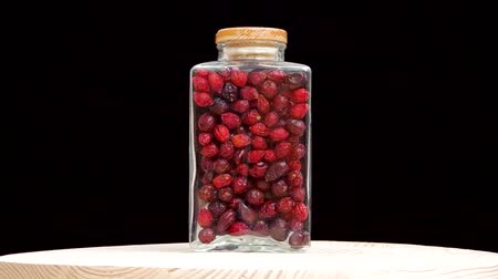 rosehips : Dried rosehip spins in glass bottles
