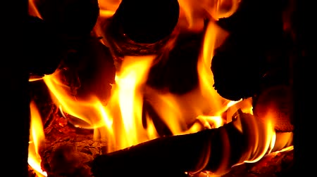 briquettes : Burning wood in brick stove Stock Footage