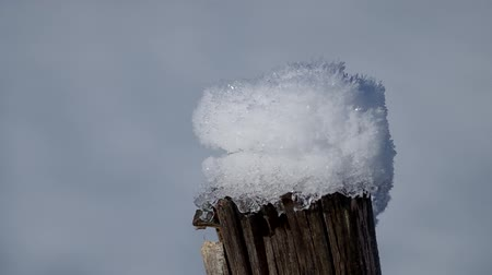 deep snow : Detail of snow on fence in winter