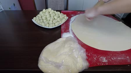 pierogi : Processing cooking of Pirohy (pierogi) with bryndza sheep cheese and bacon (Slovak dish)