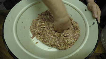 ground meat : Home preparation of meat mixture for meat products Stock Footage