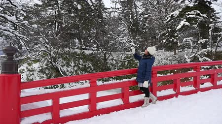 sourozenci : Portrait of beautiful Asian girl on red bridge at Hirosaki Castle in Aomori, Japan