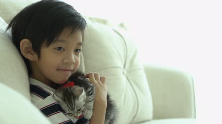Asian child playing with kitten on sofa at home slow motion 動画素材