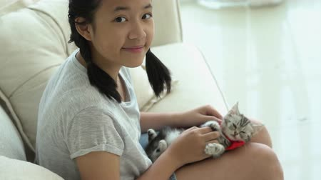 Beautiful Asian girl playing with kitten on sofa at home slow motion Wideo
